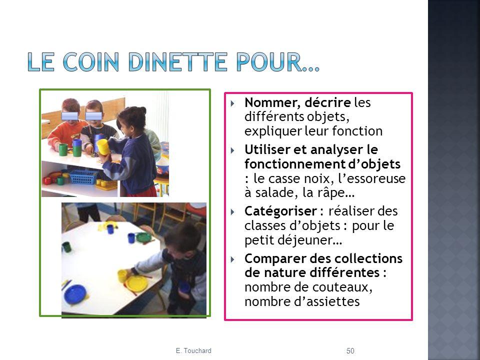 Le coin dinette pour… Nommer, décrire les différents objets, expliquer leur fonction.