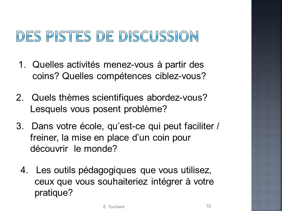 Des pistes de discussion