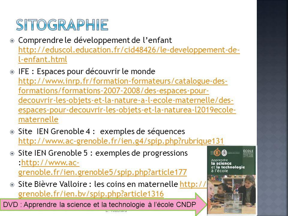 Sitographie Comprendre le développement de l'enfant http://eduscol.education.fr/cid48426/le-developpement-de- l-enfant.html.