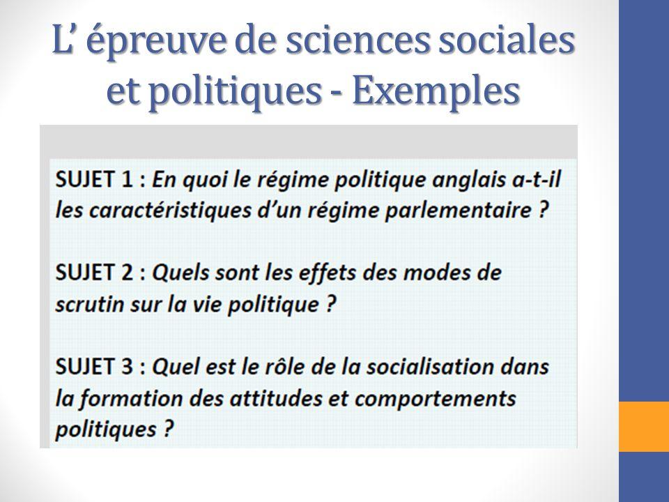L' épreuve de sciences sociales et politiques - Exemples