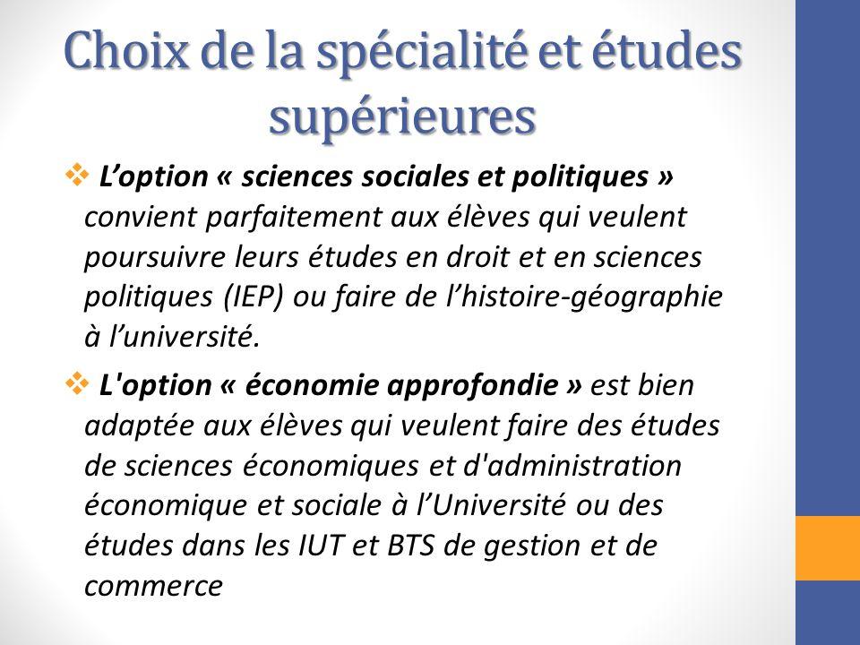 Choix de la spécialité et études supérieures