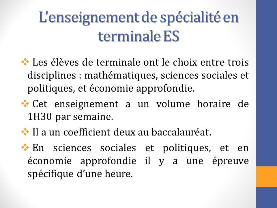 L'enseignement de spécialité en terminale ES