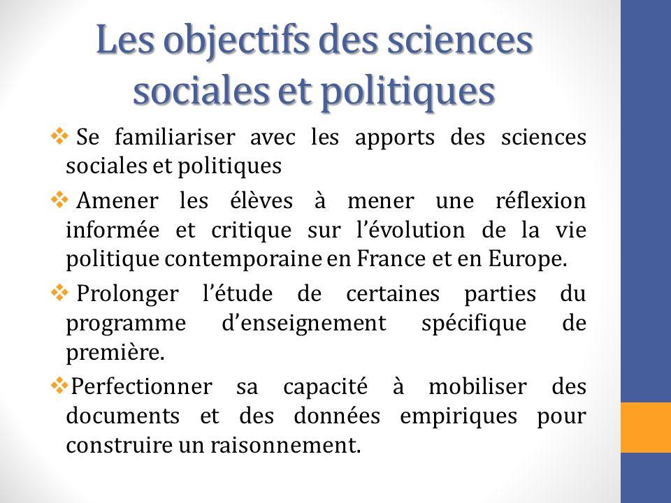 Les objectifs des sciences sociales et politiques