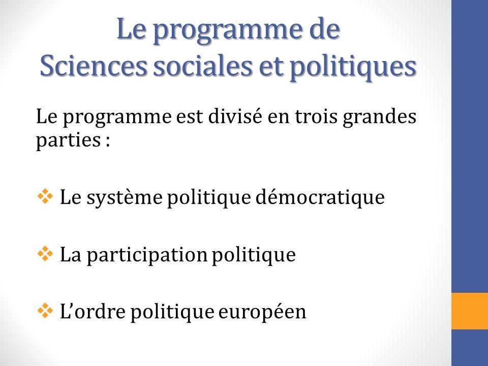 Le programme de Sciences sociales et politiques