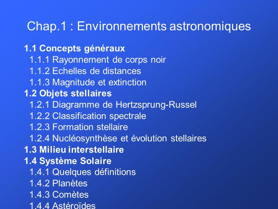 Chap.1 : Environnements astronomiques