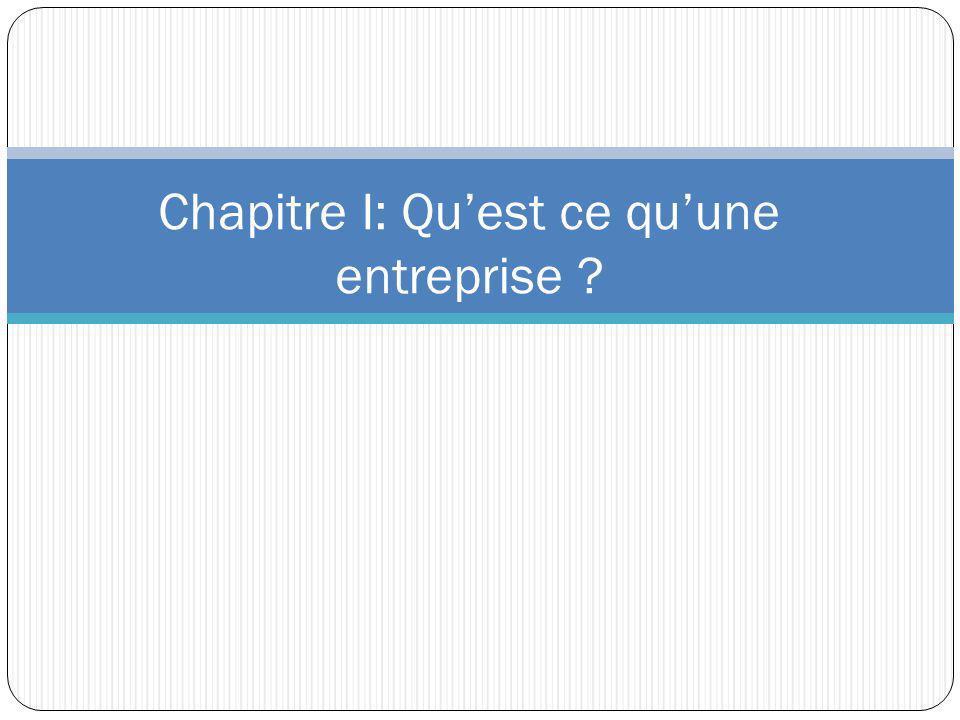 Chapitre I: Qu'est ce qu'une entreprise