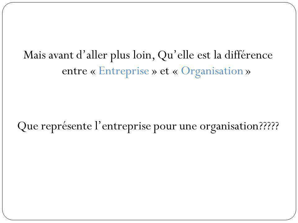 Mais avant d'aller plus loin, Qu'elle est la différence entre « Entreprise » et « Organisation » Que représente l'entreprise pour une organisation