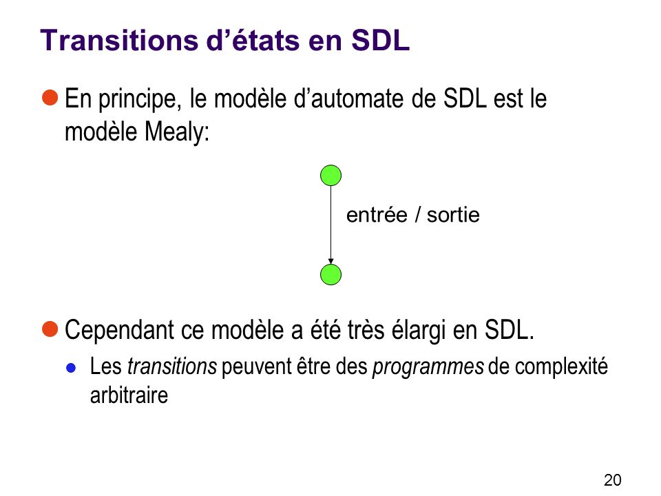 Transitions d'états en SDL