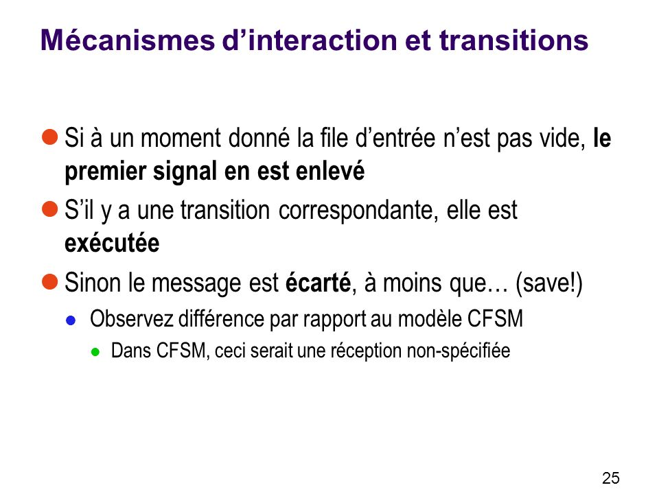 Mécanismes d'interaction et transitions