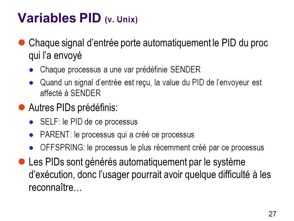 Variables PID (v. Unix) Chaque signal d'entrée porte automatiquement le PID du proc qui l'a envoyé.