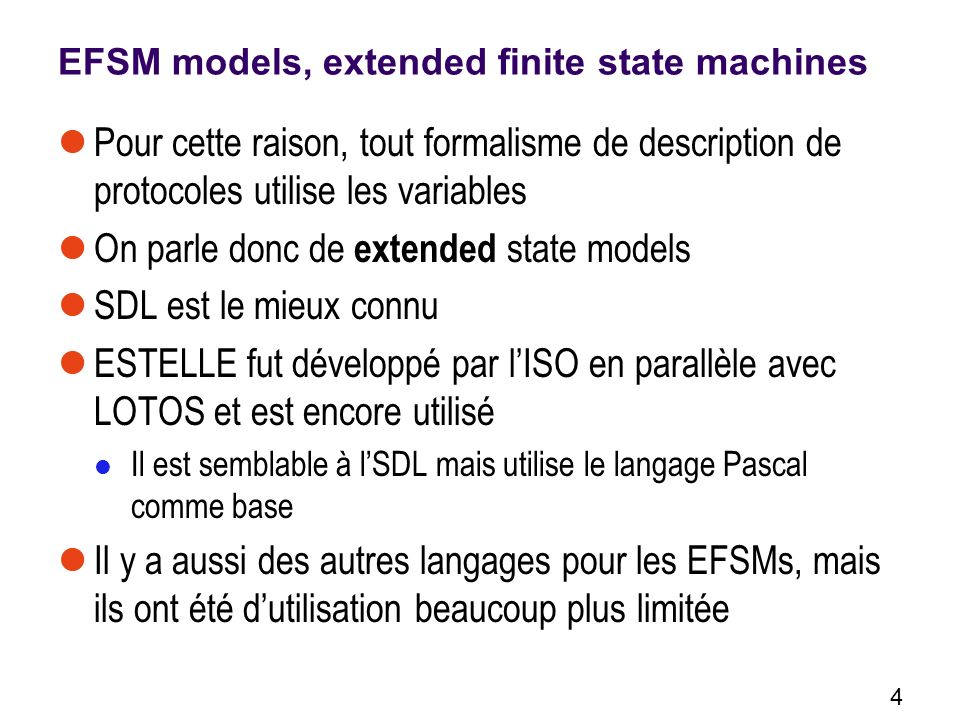 EFSM models, extended finite state machines