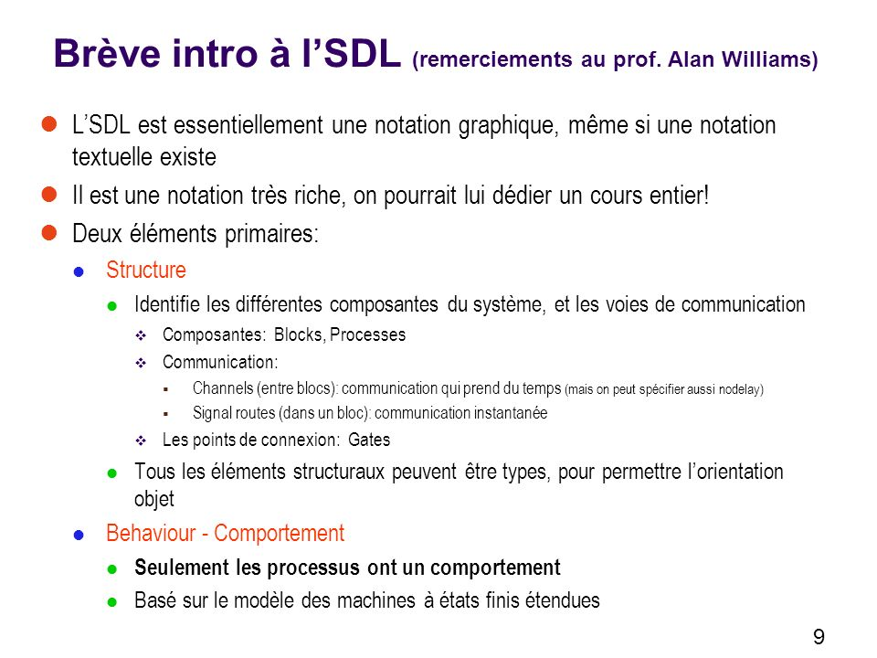 Brève intro à l'SDL (remerciements au prof. Alan Williams)