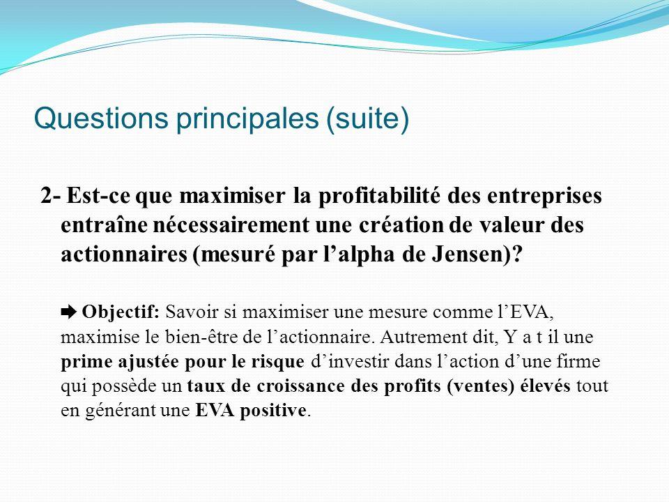 Questions principales (suite)