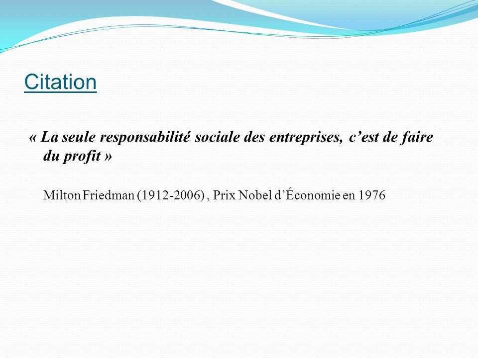 Citation « La seule responsabilité sociale des entreprises, c'est de faire du profit » Milton Friedman (1912-2006) , Prix Nobel d'Économie en 1976.
