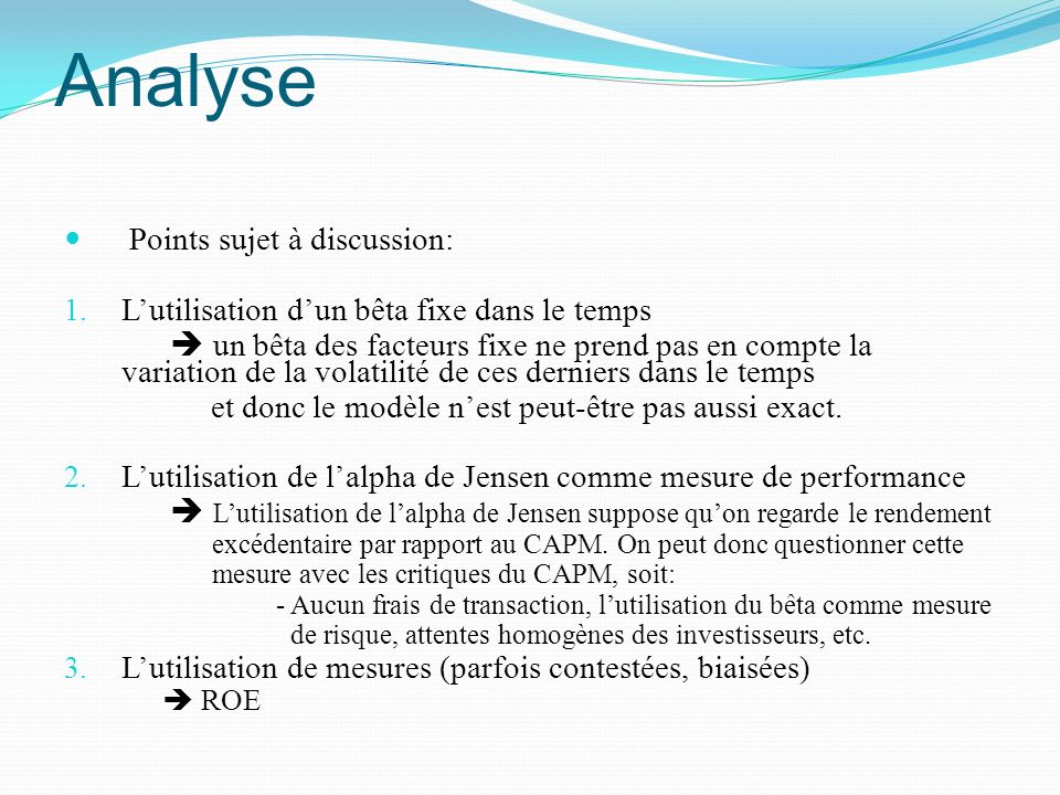 Analyse Points sujet à discussion: