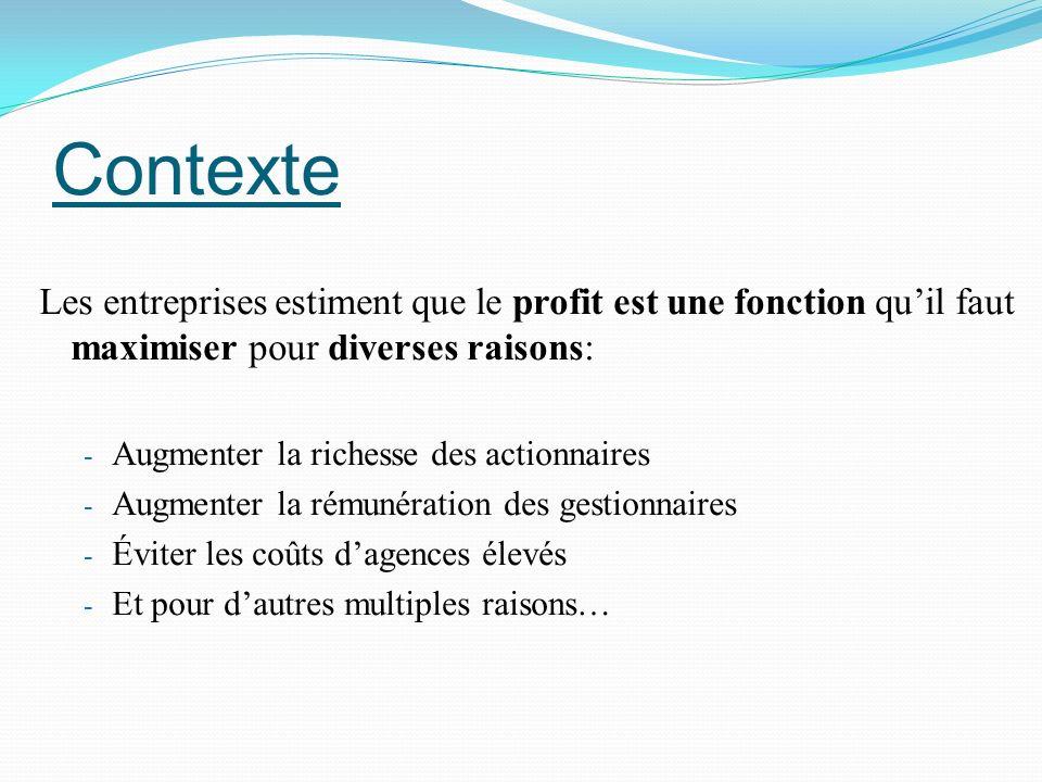 Contexte Les entreprises estiment que le profit est une fonction qu'il faut maximiser pour diverses raisons: