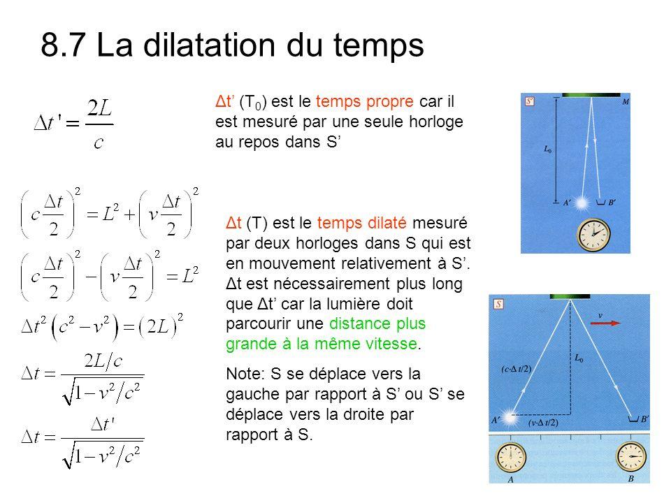 8.7 La dilatation du temps Δt' (T0) est le temps propre car il est mesuré par une seule horloge au repos dans S'