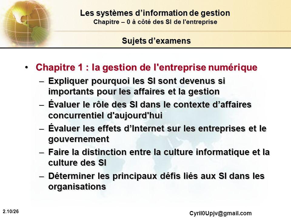 Chapitre 1 : la gestion de l entreprise numérique
