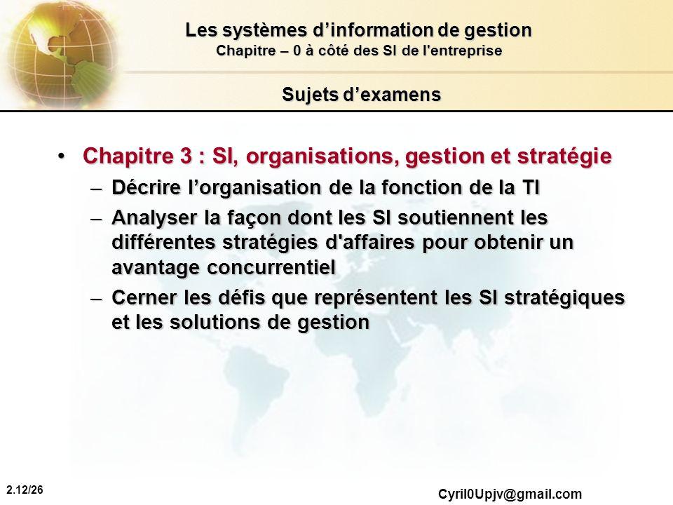 Chapitre 3 : SI, organisations, gestion et stratégie