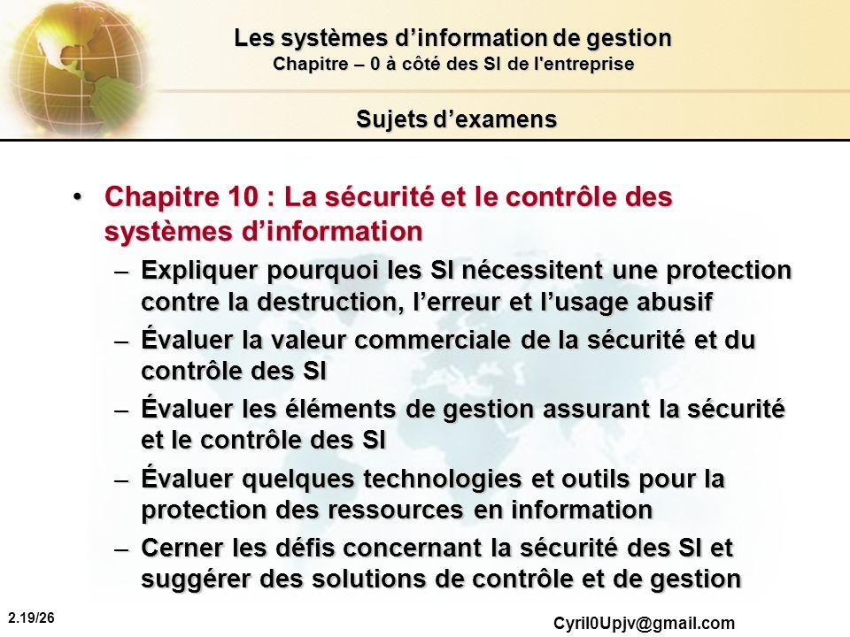 Chapitre 10 : La sécurité et le contrôle des systèmes d'information