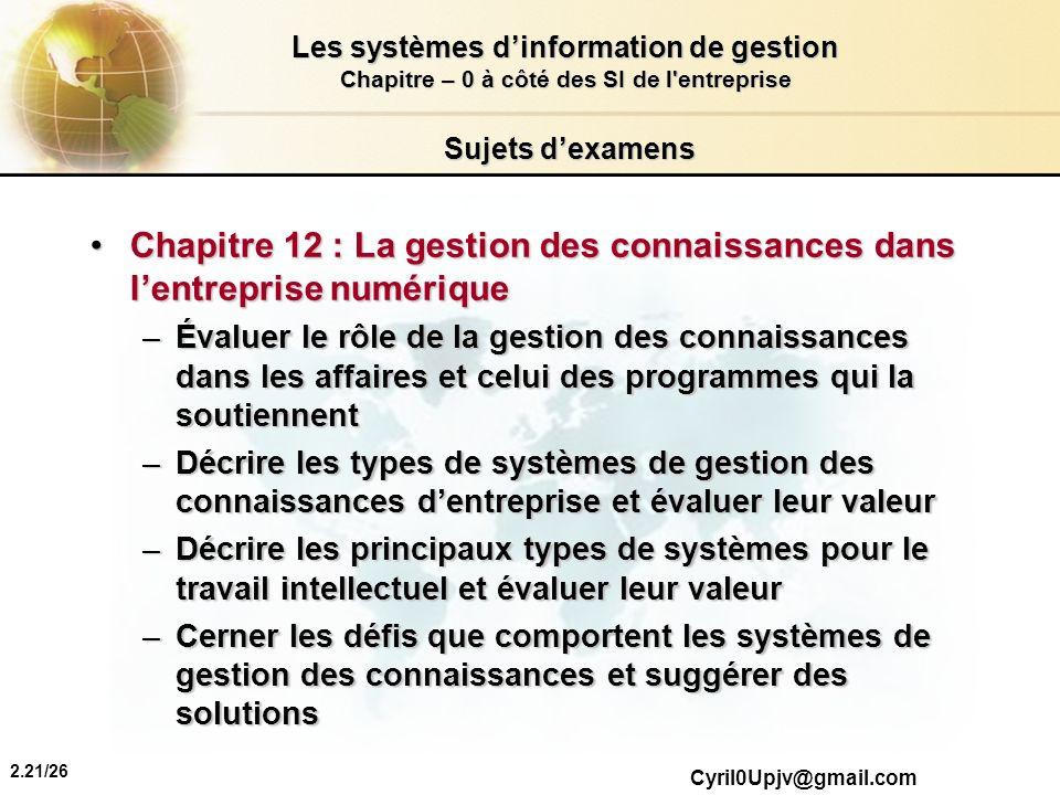 Chapitre 12 : La gestion des connaissances dans l'entreprise numérique