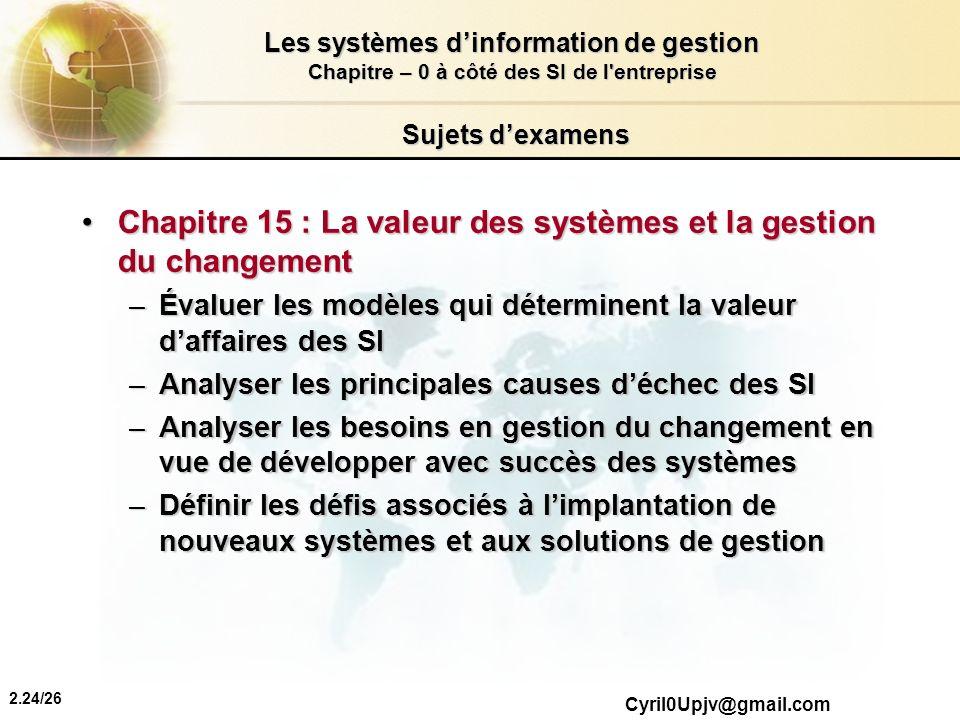 Chapitre 15 : La valeur des systèmes et la gestion du changement