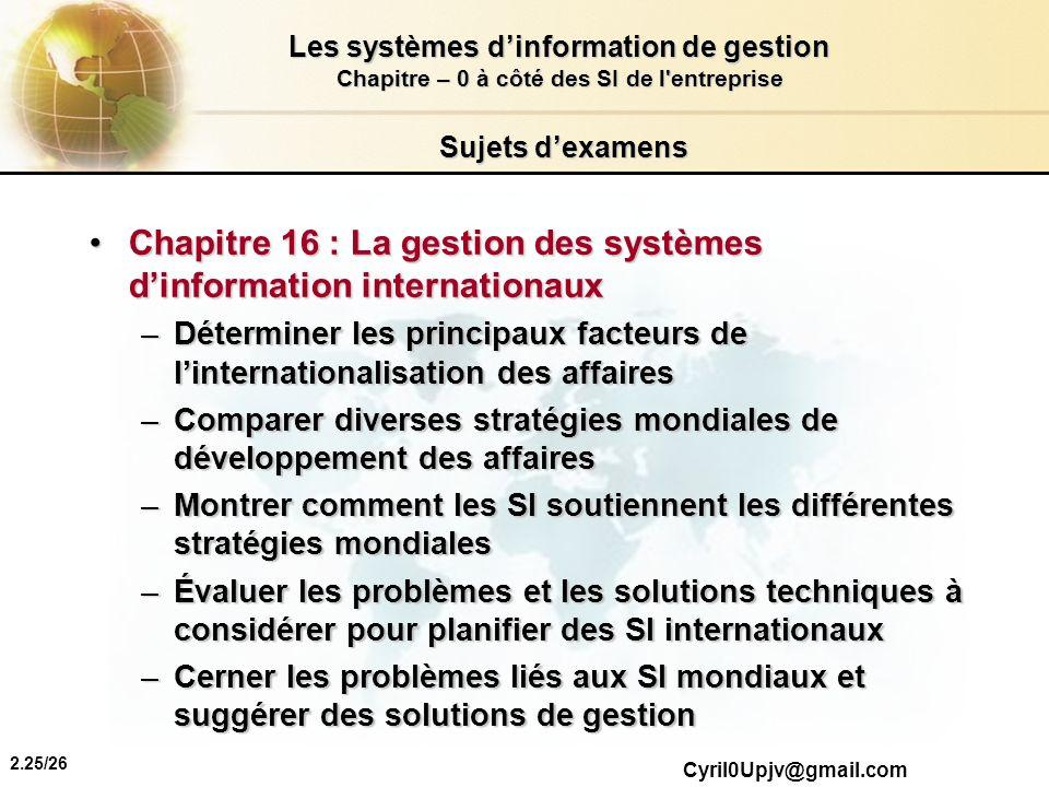 Chapitre 16 : La gestion des systèmes d'information internationaux