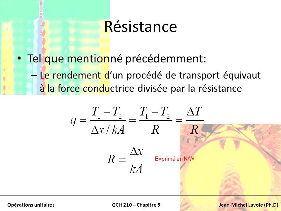 Résistance Tel que mentionné précédemment: