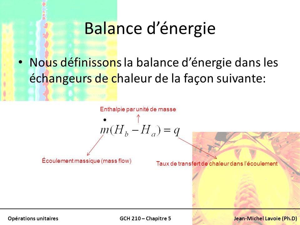 Balance d'énergie Nous définissons la balance d'énergie dans les échangeurs de chaleur de la façon suivante: