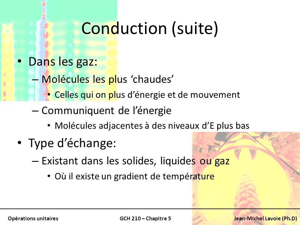 Conduction (suite) Dans les gaz: Type d'échange: