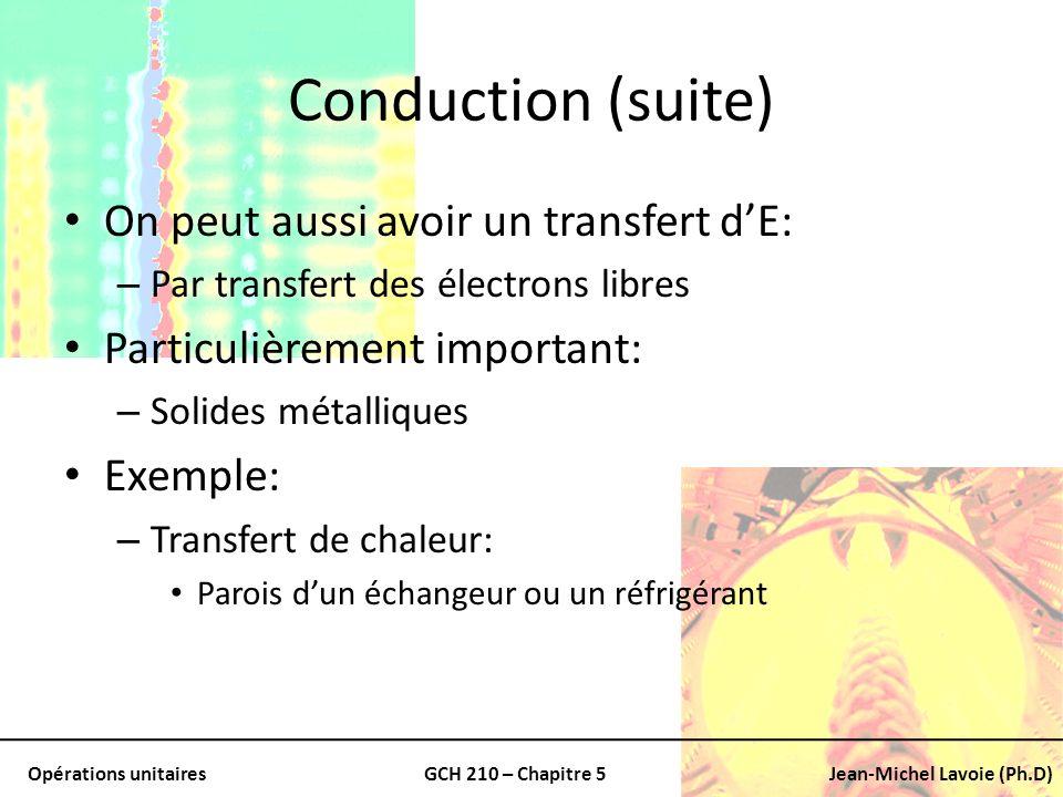 Conduction (suite) On peut aussi avoir un transfert d'E: