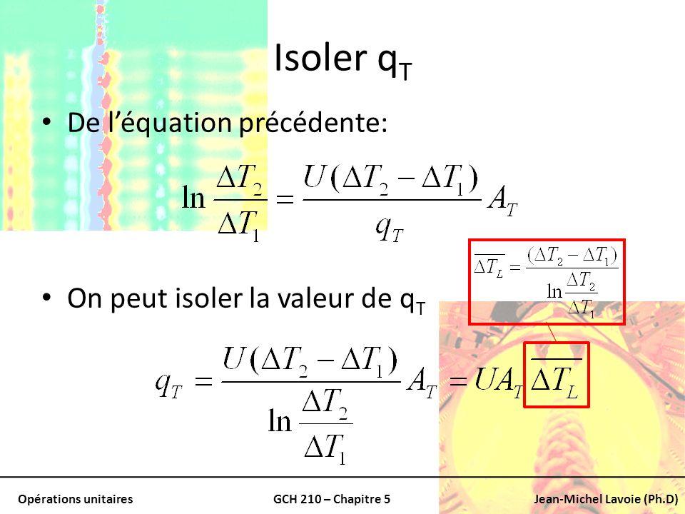 Isoler qT De l'équation précédente: On peut isoler la valeur de qT