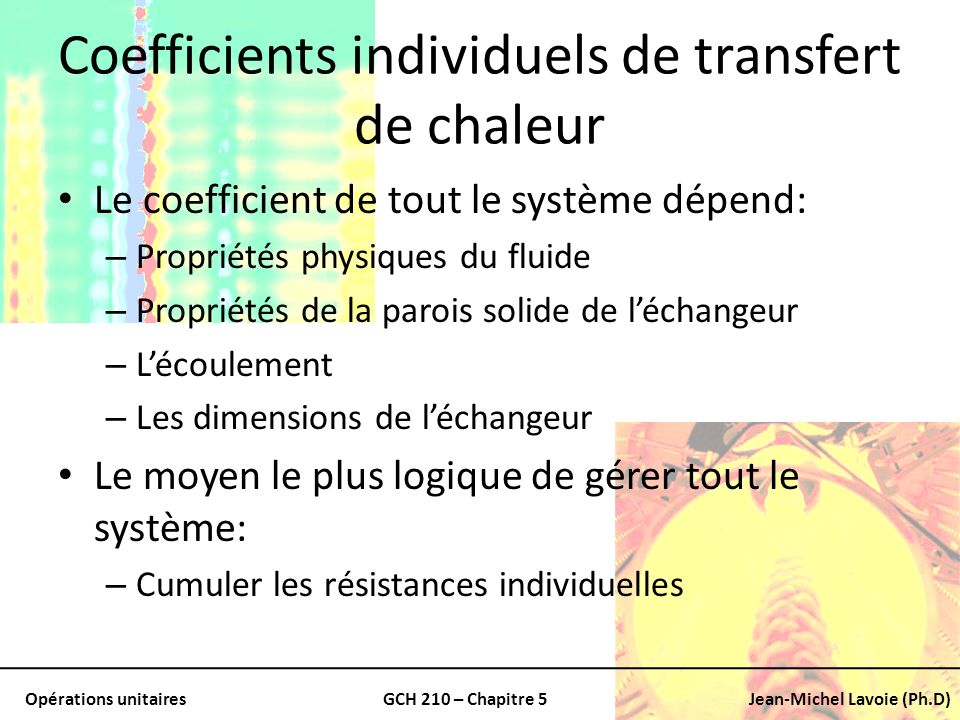 Coefficients individuels de transfert de chaleur