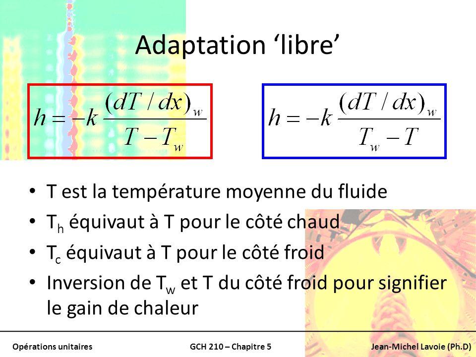Adaptation 'libre' T est la température moyenne du fluide