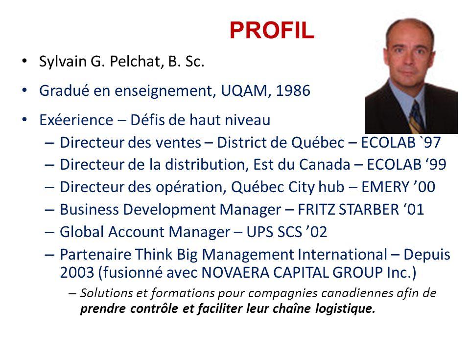PROFIL Sylvain G. Pelchat, B. Sc. Gradué en enseignement, UQAM, 1986