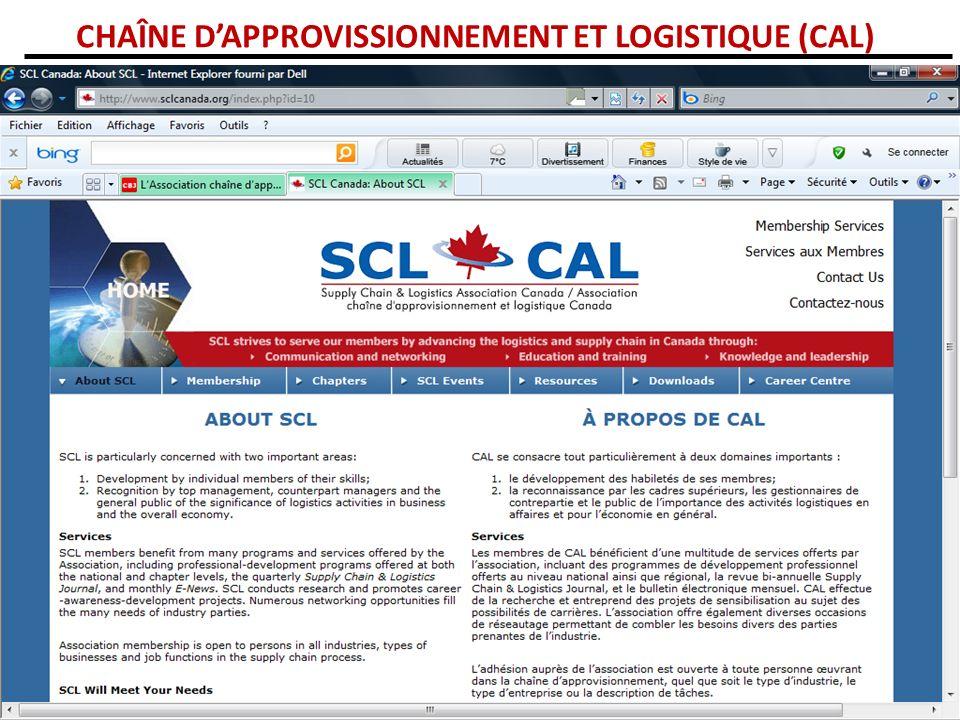 CHAÎNE D'APPROVISSIONNEMENT ET LOGISTIQUE (CAL)