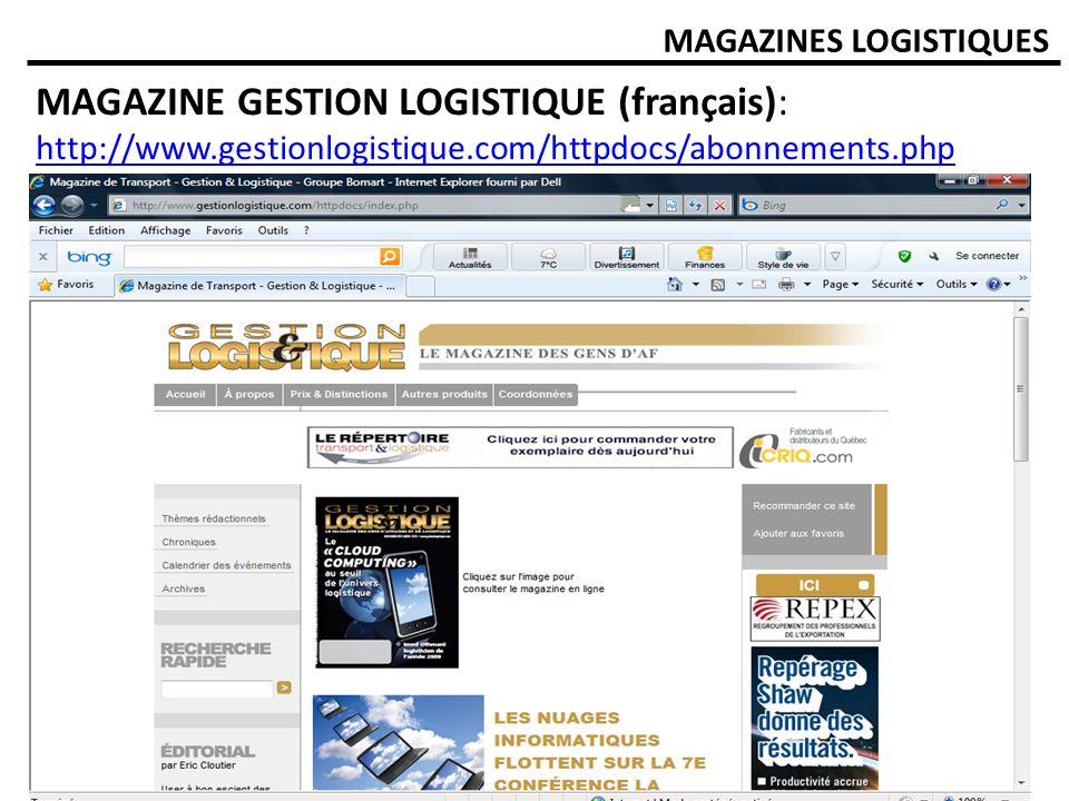 MAGAZINE GESTION LOGISTIQUE (français):