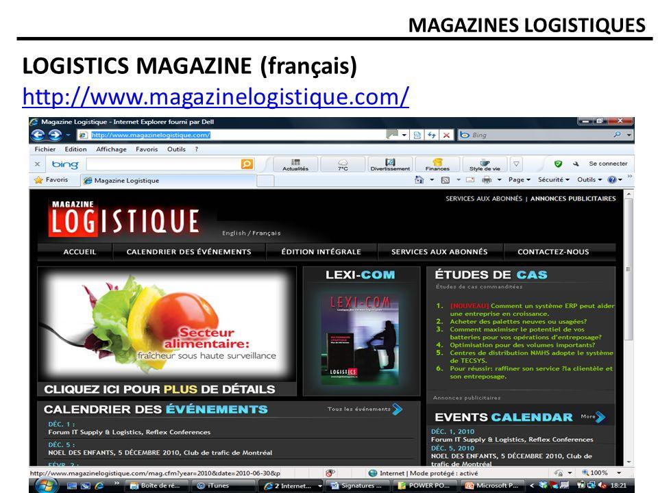 LOGISTICS MAGAZINE (français) http://www.magazinelogistique.com/