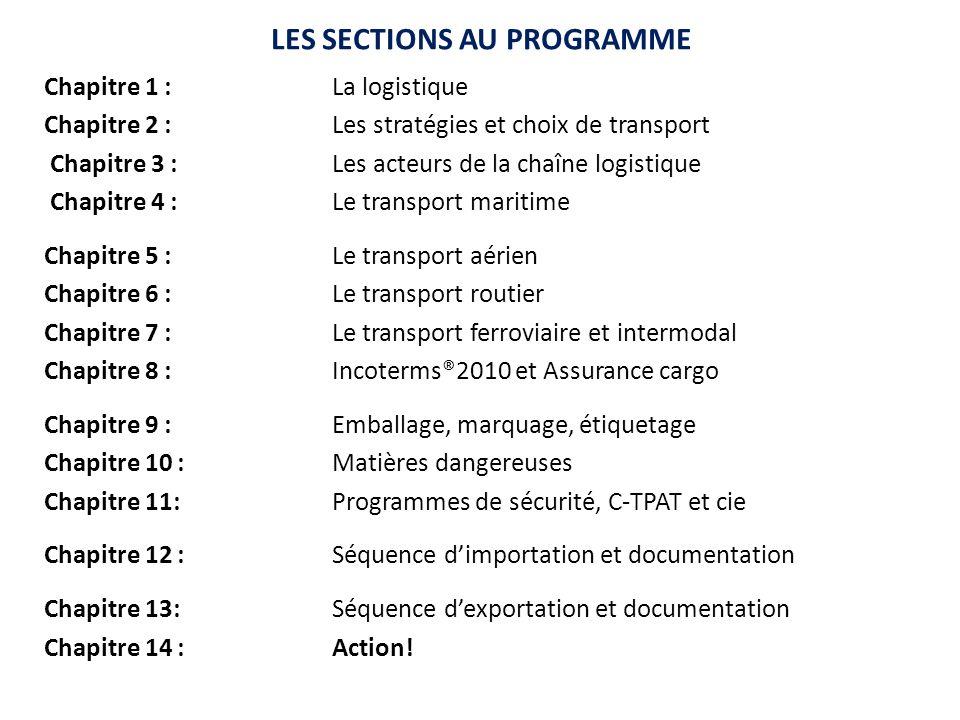 LES SECTIONS AU PROGRAMME