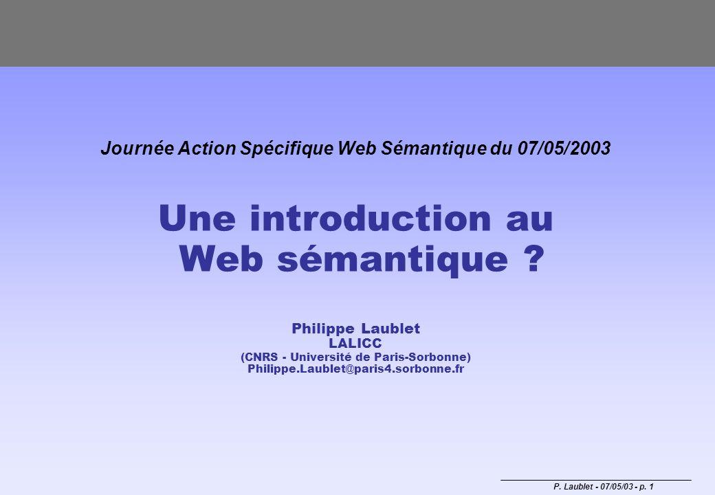 Journée Action Spécifique Web Sémantique du 07/05/2003