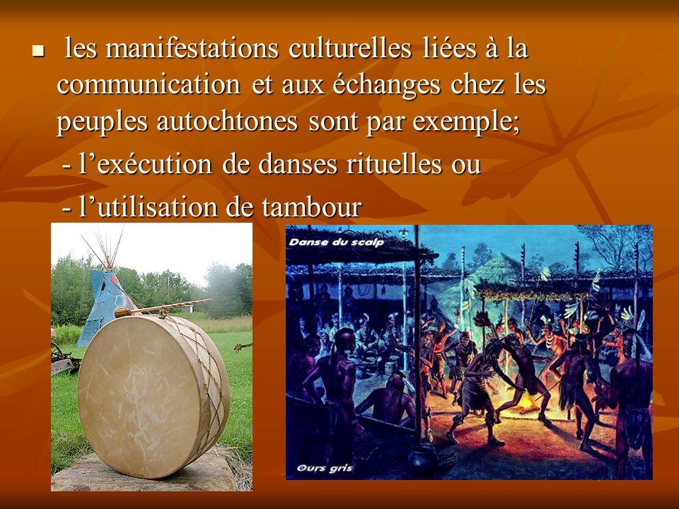 les manifestations culturelles liées à la communication et aux échanges chez les peuples autochtones sont par exemple;