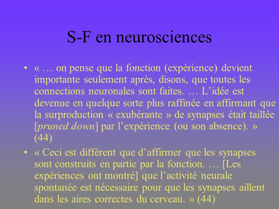 S-F en neurosciences