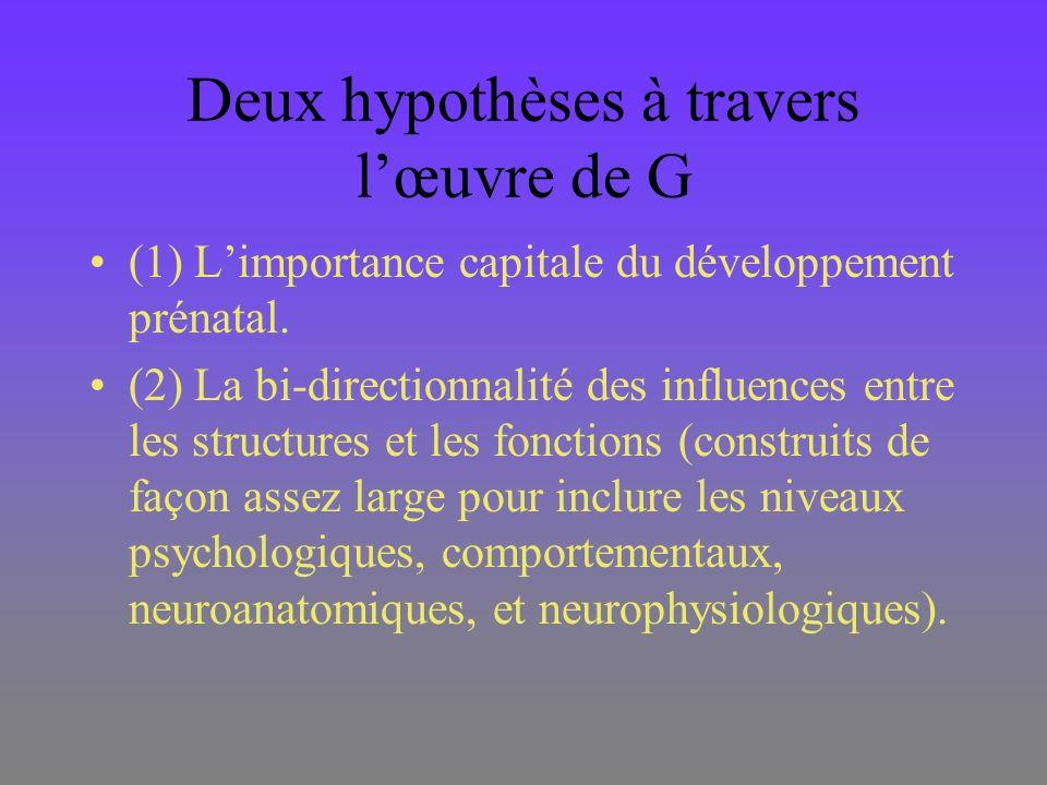 Deux hypothèses à travers l'œuvre de G