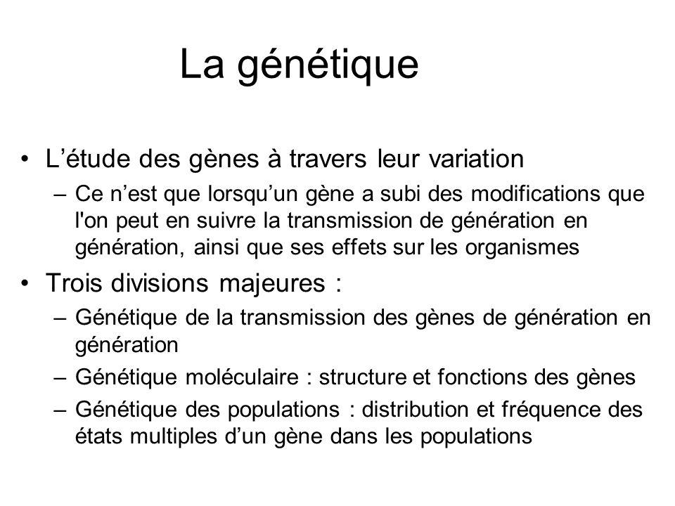 La génétique L'étude des gènes à travers leur variation