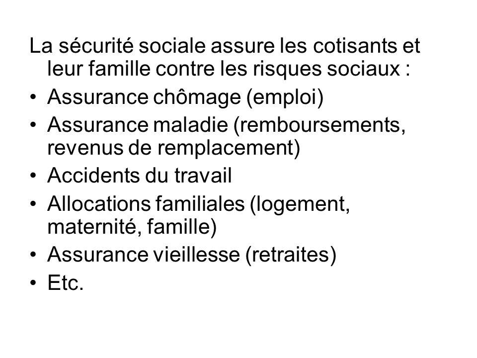 La sécurité sociale assure les cotisants et leur famille contre les risques sociaux :