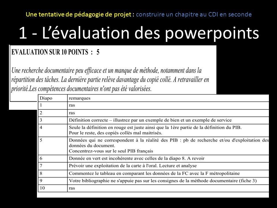 1 - L'évaluation des powerpoints