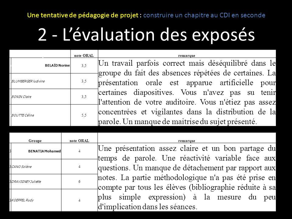 2 - L'évaluation des exposés