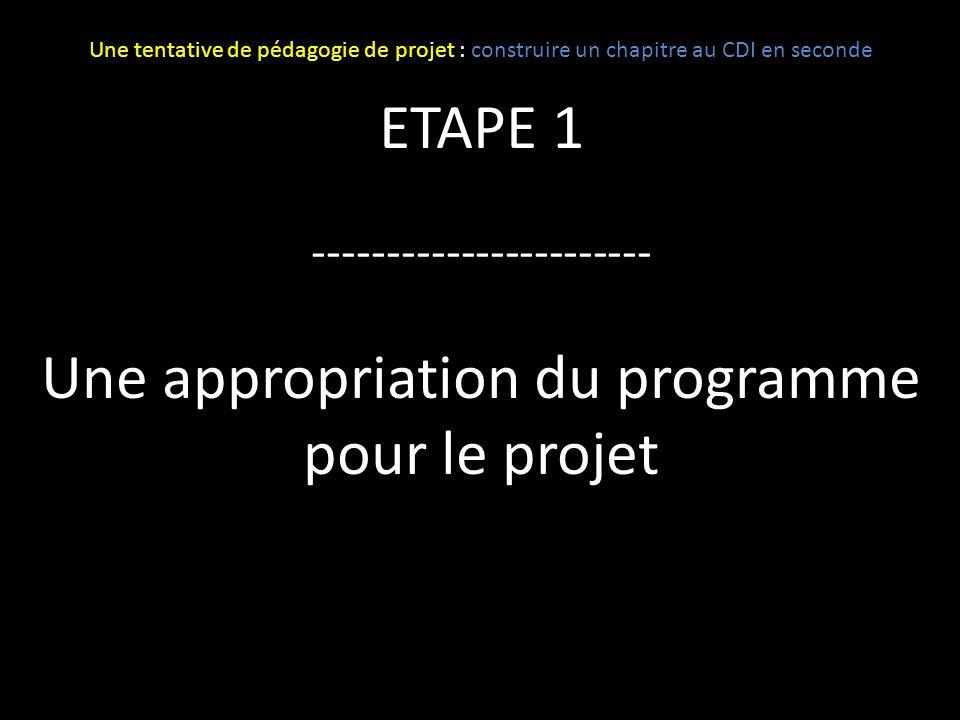 Une appropriation du programme pour le projet