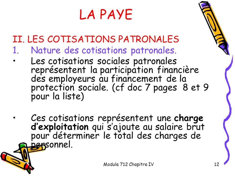 LA PAYE II. LES COTISATIONS PATRONALES
