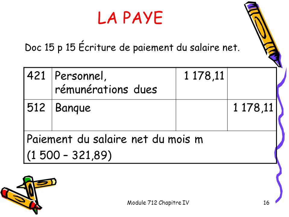 LA PAYE 421 Personnel, rémunérations dues 1 178,11 512 Banque